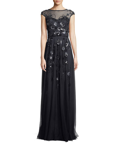 Floral Vine Beaded Tulle Cap-Sleeve Gown