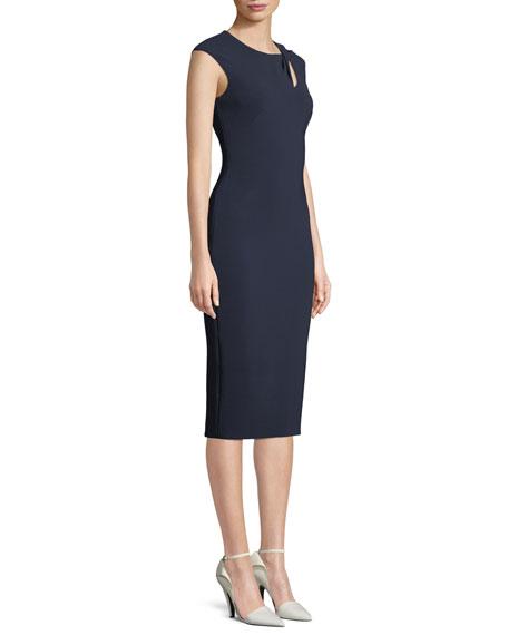 Cap-Sleeve Crepe Cocktail Sheath Dress w/ Asymmetric Keyhole