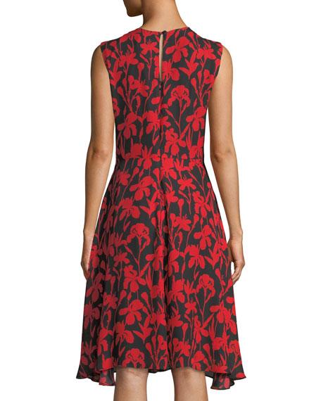 Anna Floral-Print Silk A-Line Dress