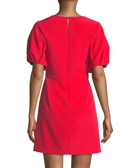 Kyle Italian Cady Puff-Sleeve Dress