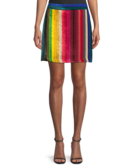 Rainbow Stripe Velvet Modern Mini Skirt in Multi