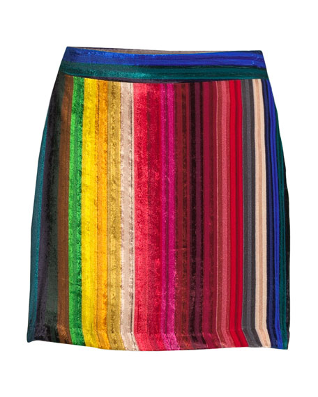 Rainbow Stripe Velvet Modern Mini Skirt