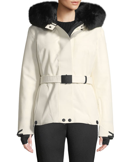 Laplance Belted Coat W/ Detachable Fur in White