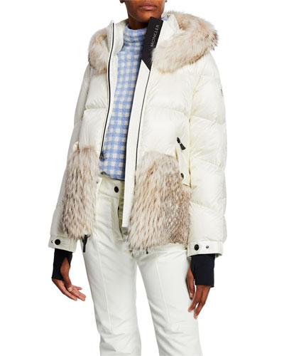 Joux Quilted Coat w/ Fur & Hood