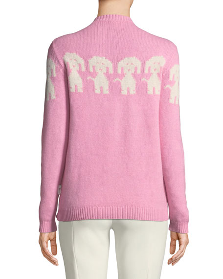 Long-Sleeve Dog-Intarsia Pullover Sweater