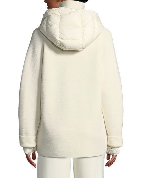 Spa Down & Knit Combo Coat w/ Hood