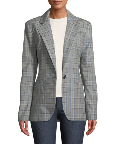 Milly Italian Check Boyfriend Suiting Jacket