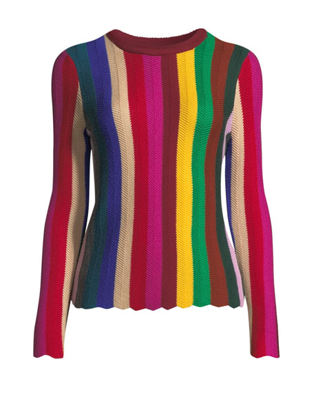 Vertical Chevron Wool Sweater