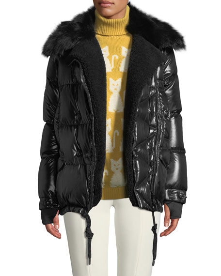 Moncler Grenoble Seelisberg Puffer Coat w/ Fur Lining