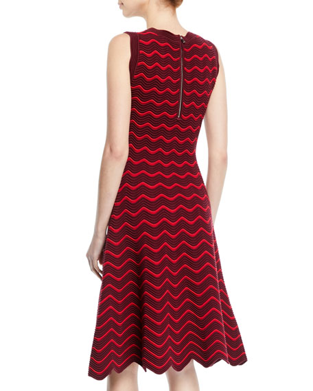 Textured Wave Knit Flare Dress