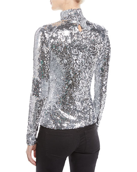 Sequined Long-Sleeve Turtleneck Top