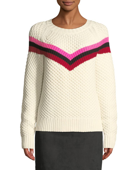 MILLY Varsity Stripe Popcorn Stitch Wool Blend Sweater in White