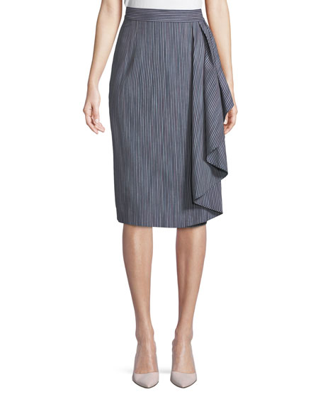 Striped Skirt w/ Draped Ruffle