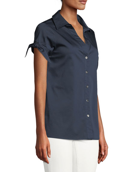 Cotton-Blend Blouse w/ Tie Sleeves