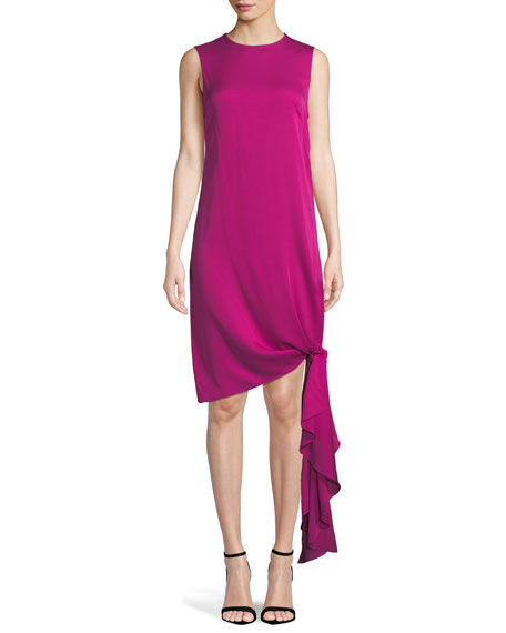 Chiara Stretch-Silk Dress w/ Asymmetric Tied Hem