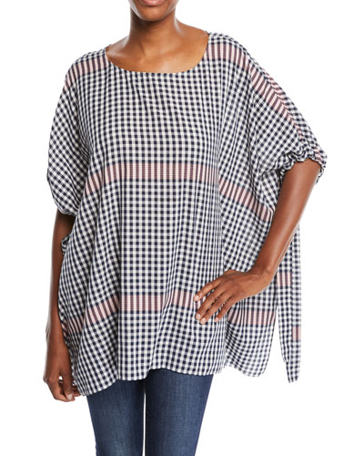 Plaid Tunic w/ Self-Tie Sleeves