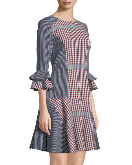 Plaid & Striped Combo Flounce Dress