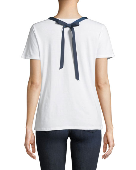 Round-Neck Short-Sleeve Cotton Shirt w/ Necklace
