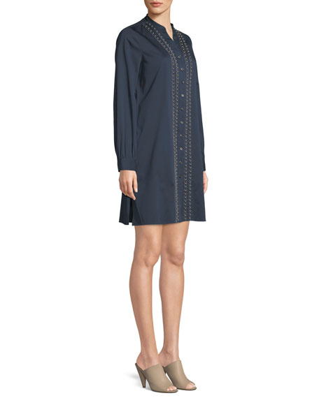 Long-Sleeve Denim Shirt Dress w/ Pearly Trim