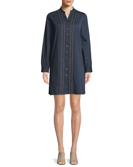 Badgley Mischka Collection Long-Sleeve Denim Shirt Dress w/