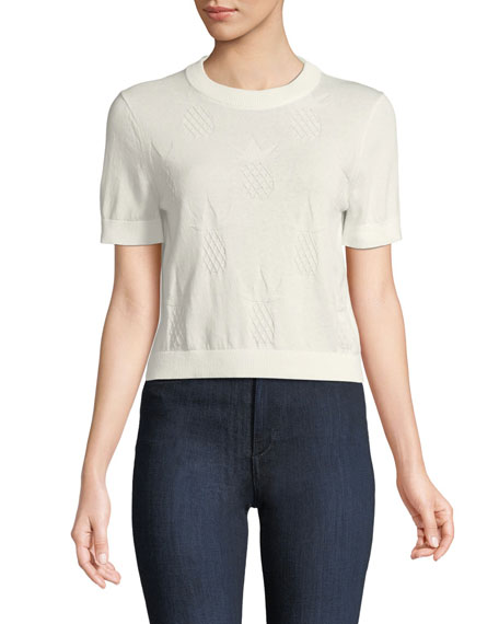kate spade new york pineapple textured short-sleeve sweater