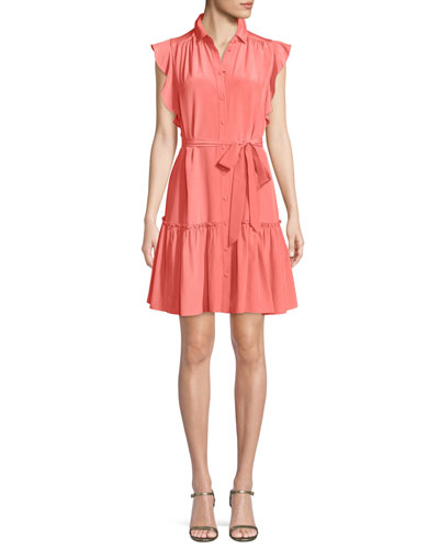 silk dress w/ ruffle sleeves & collar