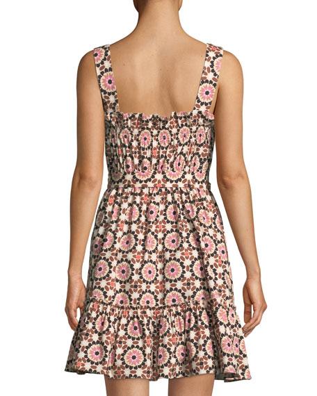 floral mosaic poplin dress