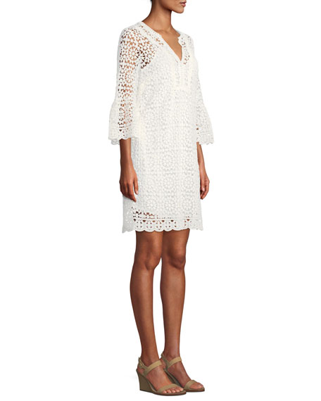 crochet lace dress w/ bell sleeves
