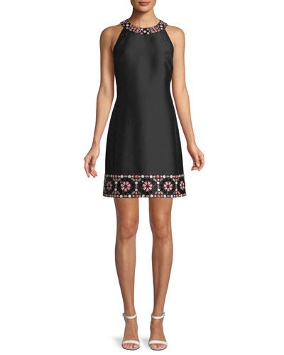 mosaic embellished shift dress