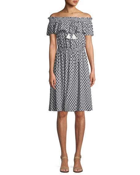 Kate Spade Arrow Stripe Off The Shoulder Dress In Fresh Whiteblack