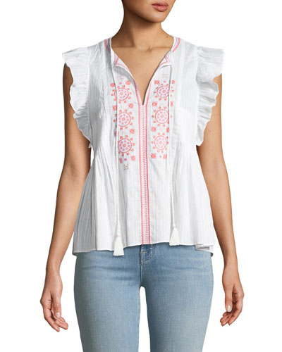 mosaic embroidered tassel top