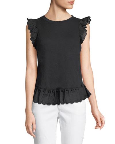 sleeveless top w/ pom pom trim