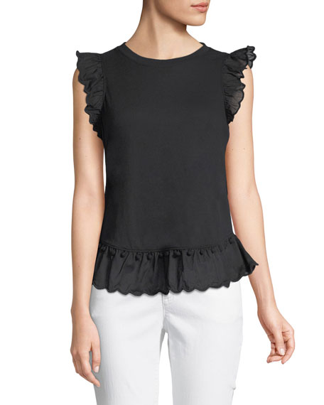 sleeveless top w/ pom pom trim