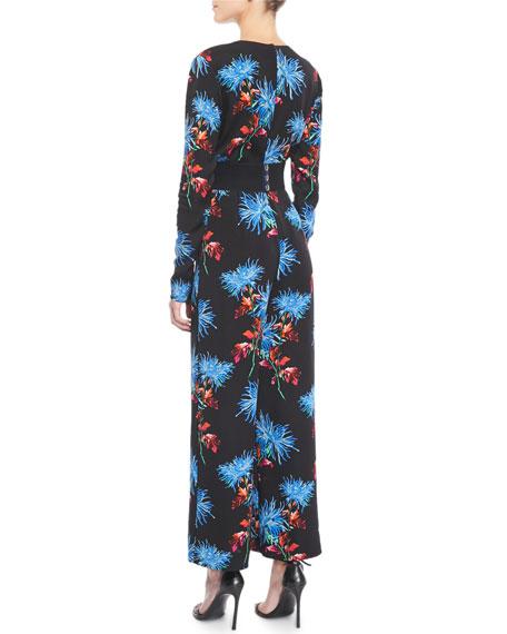Floral-Print Crossover Crepe Jumpsuit