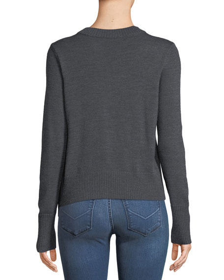 Crewneck Long-Sleeve Pullover Wool Sweater w/ Angled Fringe