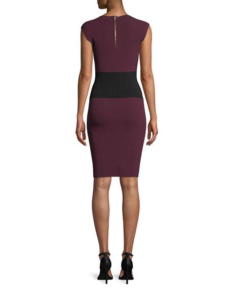 Bateau-Neck Cap-Sleeve Colorblock Sheath Dress