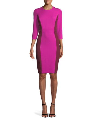 Jewel-Neck 3/4-Sleeve Colorblock Scuba Dress
