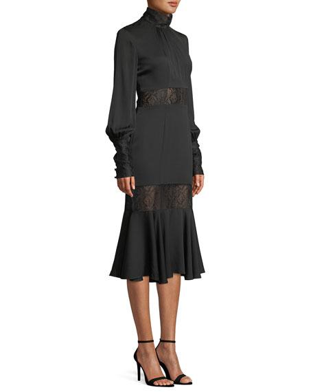 Arianna Long-Sleeve Python Lace Midi Dress