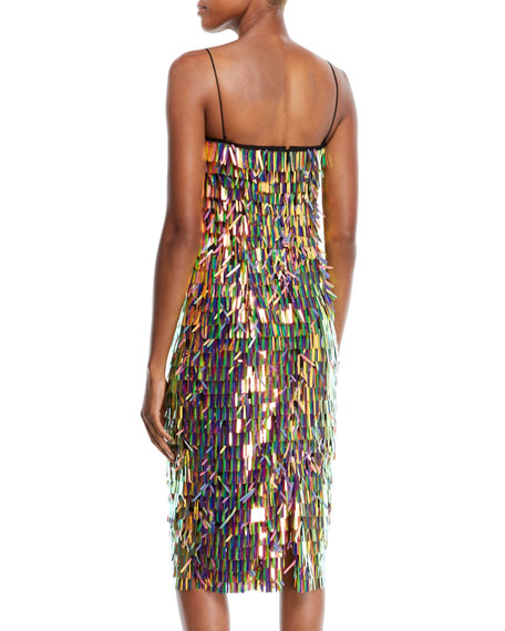 Nickie Strapless Matchstick Paillette Midi Cocktail Dress
