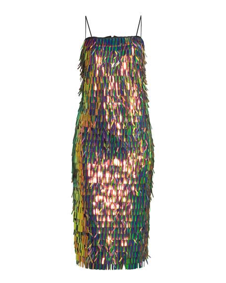 Nickie Strapless Matchstick Paillette Midi Cocktail Dress