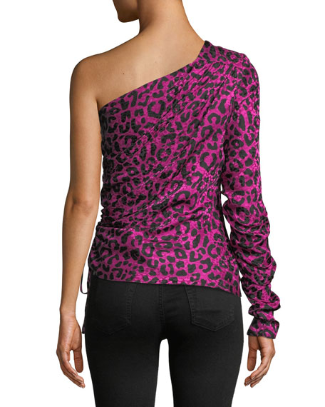 Cara One-Sleeve Leopard-Print Silk Jacquard Top