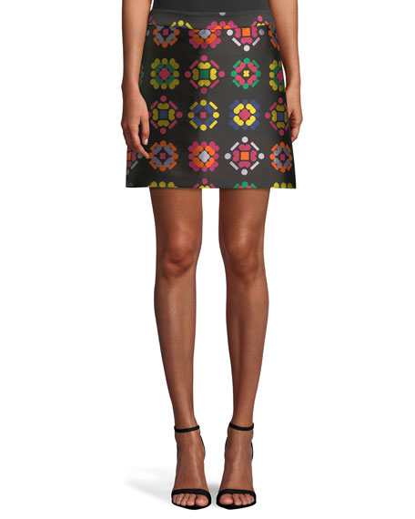 Geometric-Jacquard A-Line Mini Skirt in Multi
