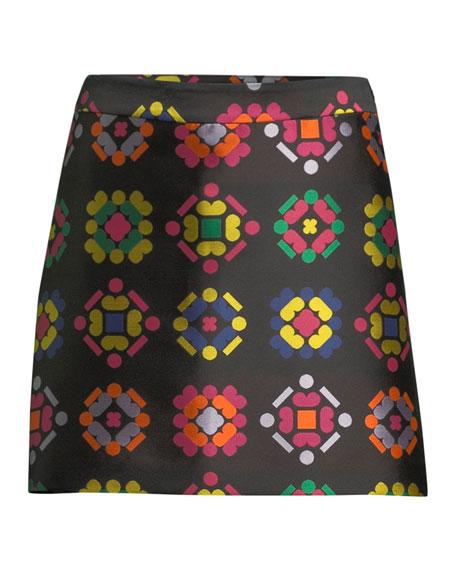 Geometric-Jacquard A-Line Mini Skirt