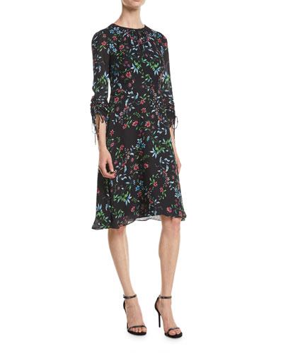 Diana Crewneck Ruched-Sleeve Wildflower-Print Silk A-Line Dress