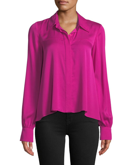 Penelope Button-Front Long-Sleeve Silk-Stretch Top