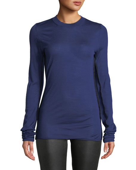Long-Sleeve Crewneck Wool Sweater w/ Contrast Seams