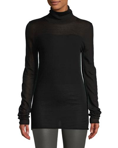 Contrast-Seam Turtleneck Sweater