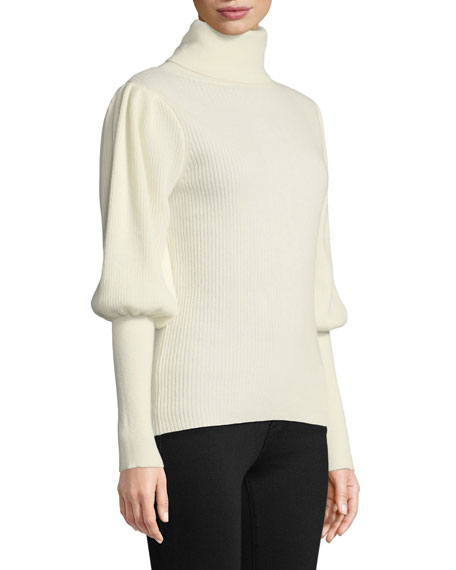 Puff-Sleeve Ribbed Cashmere Turtleneck Pullover Sweater