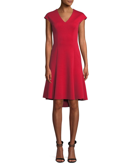 Moriah Knit Cap-Sleeve V-Neck A-Line Dress