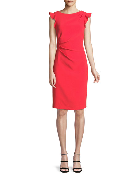 Elsie Boat-Neck Ruffle-Trim Sunburst Sheath Dress